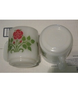 Lot 2 Vintage Glasbake White Milk Glass Mug Red Flowers Coffee Cup Rose  - $9.99