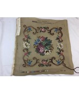 """Pretty Tapex Vienna Needlepoint Canvas Only Austria Flowers Started 16""""x16"""" - $23.33"""