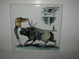 """Vtg 8"""" Tile Ceramic Trivet Hand Painted Spanish Bullfighter Matador Bull... - $12.86"""