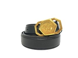 Versace Black New Leather with Gold Medusa Buckle Belt  - $380.00