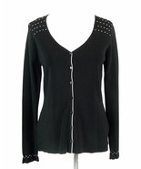 NWT MAX STUDIO Size M Black Rayon Knit White Stitch Detail Button Top - $26.99