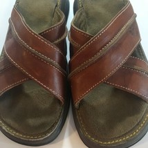 Dr Martens Womens Size 6 Brown Leather Sandals Slides Comfort Cross Strap - $39.55