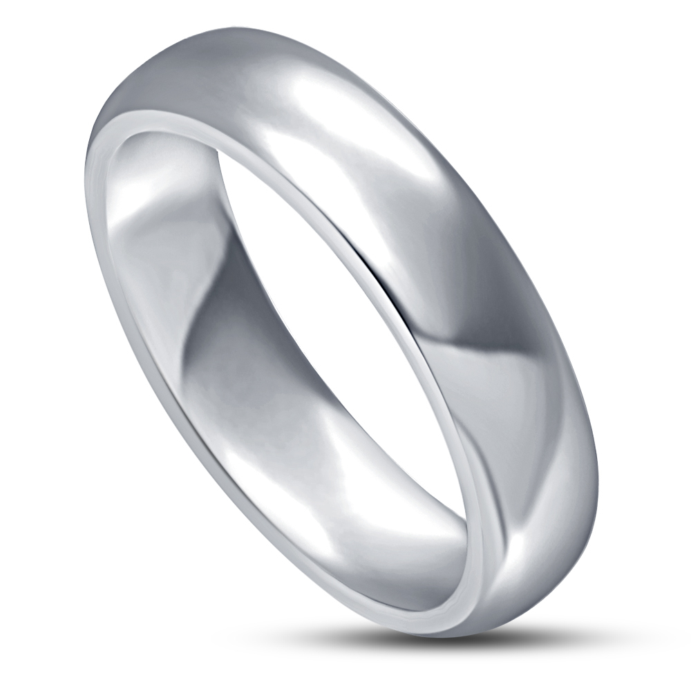 Primary image for Mens Wedding Anniversary Band Ring 14k White Gold Over 925 Sterling Real Silver
