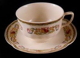 Pareek Johnson Bros England GUERNSEY Flat Cup & Saucer Set Blue Yellow P... - $13.71