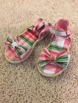 Girls Gymboree Sandals Pink Plaid With Bow Size 6 - $18.69