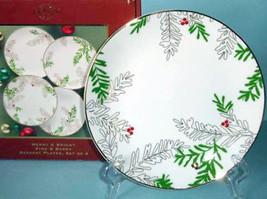 Lenox Merry & Bright Pine & Berry Dessert Plates 4 Piece Set New Boxed - $38.90