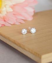 18K White Gold Plated Simple Everyday Faux Diamond Earrings, Christmas Earrings - $20.00