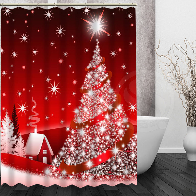 Custom bath curtain waterproof modern merry christmas tree shower curtain polyester bath screens