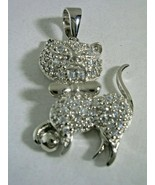 CAT PENDANT PLAYING WITH BALL WITH CUBIC ZIRCONIA PAVE SET  IN STERLING ... - $28.01