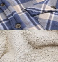 Men's Casual Flannel Button Up Plaid Fleece Warm Sherpa Lined Lightweight Jacket image 8