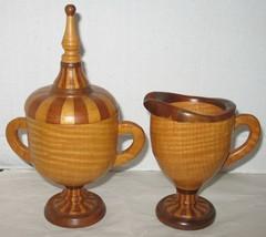 Vtg Handmade Wooden Woodenware Creamer Milk Pitcher & Lidded Sugar Bowl ... - $48.51