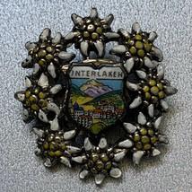Vintage Interlaken Switzerland Pin Brooch Travel Souvenir Small Flower S... - $11.84