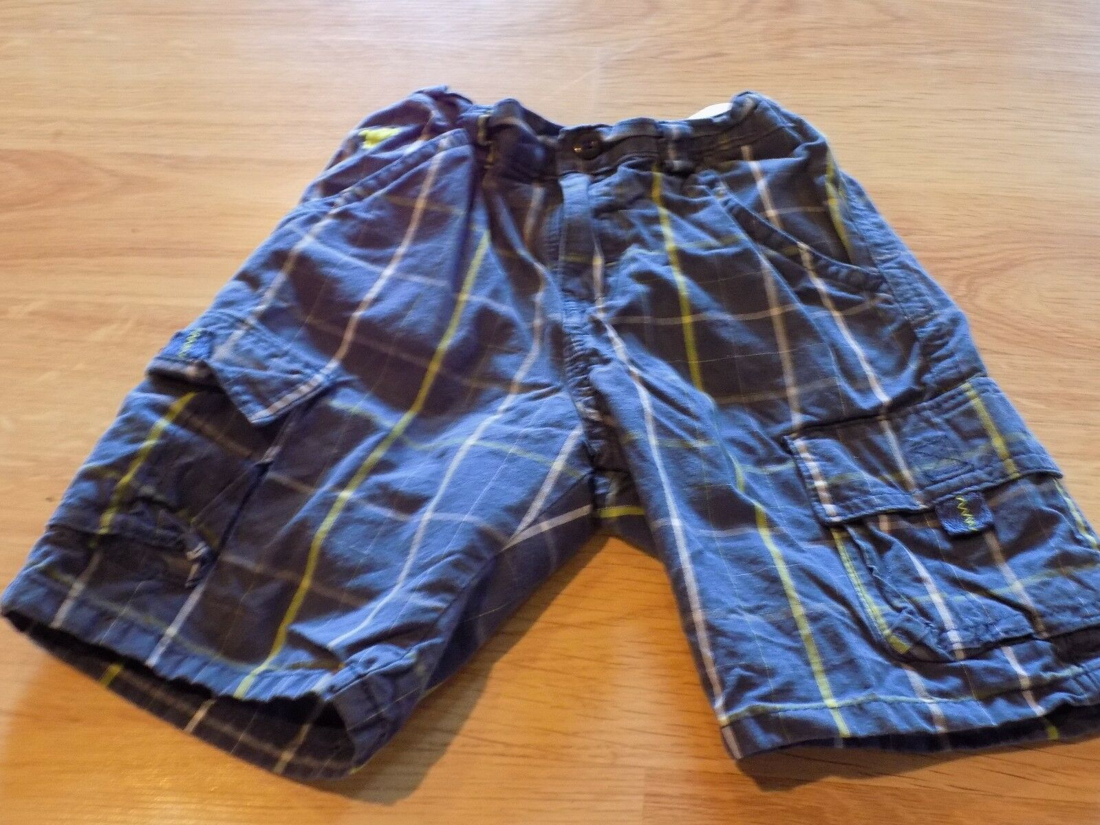 Primary image for Toddler Size 5T Blue Green Gray Plaid Cargo Summer Shorts Horse Logo EUC