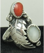 Native American Sterling Silver MOP Coral Raised Feather Sz 6.75 Ring Vi... - $29.99
