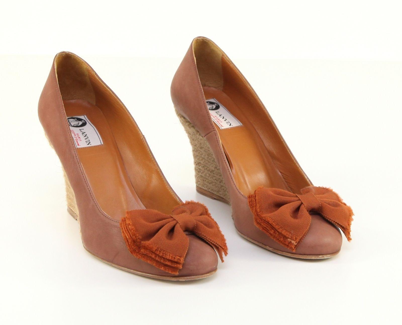 LANVIN Brown Espadrille Wedge Pump Heel Nubuck Suede Leather Shoe 39