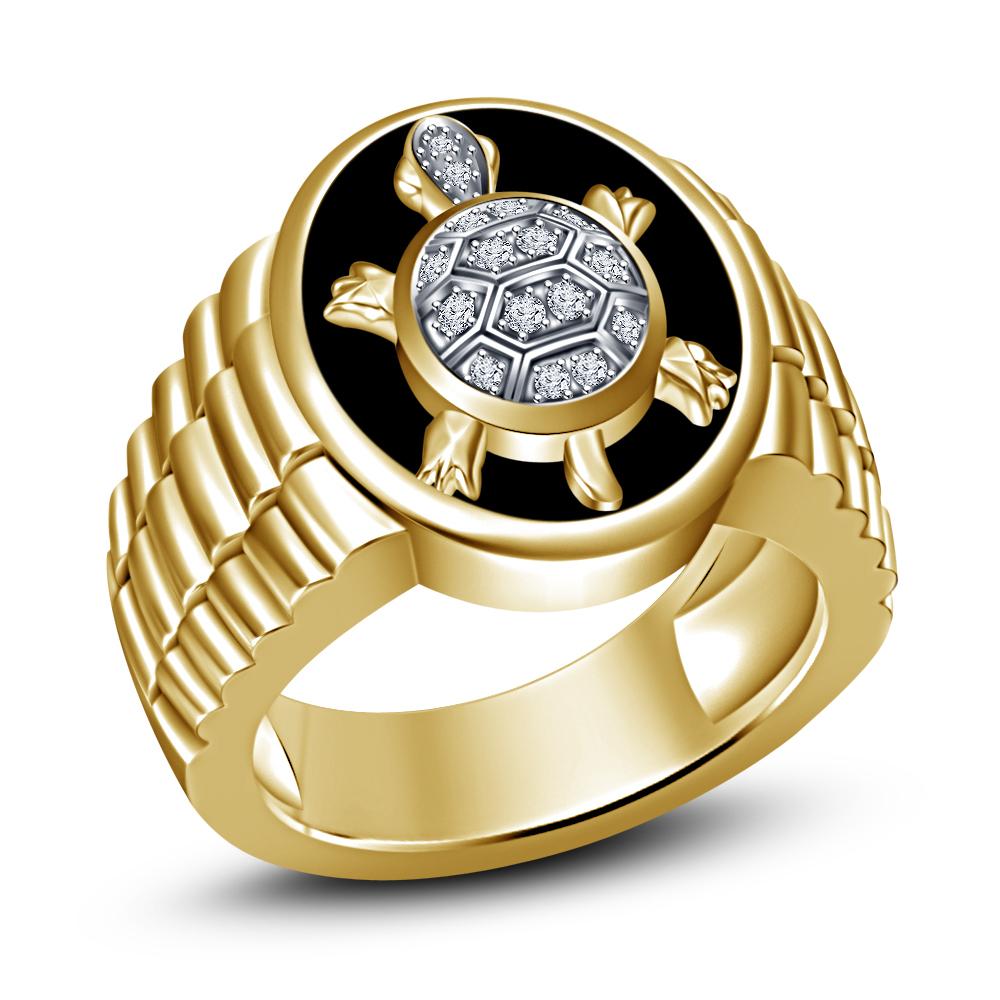 Mens Tortoise Embossed Wedding Anniversary Pinky Ring 14k Gold Finish 925 Silver - $124.99