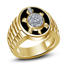 Mens Tortoise Embossed Wedding Anniversary Pinky Ring 14k Gold Finish 92... - $124.99