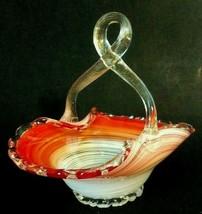 Venetian Murano(?) Glass Basket Twisted Handle, Ruffled Edge, Coral White Swirl  - $22.75