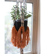 Macrame Fringe Plant Hanger in Blue, Natural, and Mustard (Plant NOT Inc... - $40.00