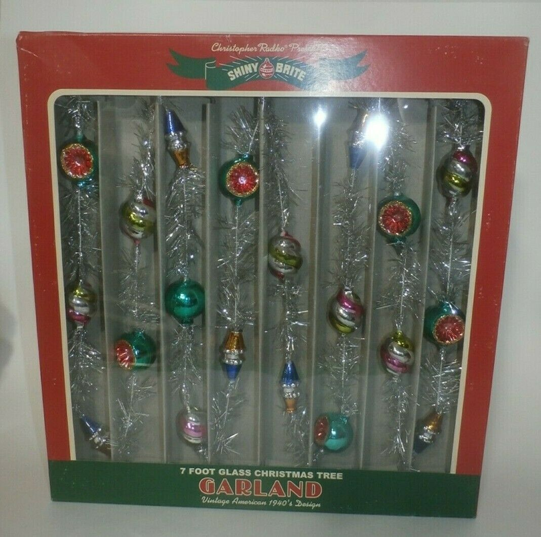 Primary image for Christopher Radko Shiny Brite 7 Foot Glass Garland 2019 - 4027814 NEW in Box