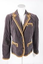Boden Womens Blazer Jacket UK 8 US 4 Gray Velvet Velour Gold Yellow Trim... - $44.55
