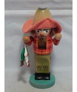 "Steinbach Wood Nutcracker Fisherman 11 3/4"" high. Missing Fishing Pole - $39.60"