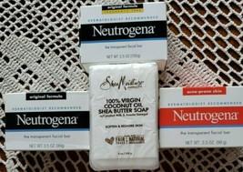 Four (4) Bars of Soap ~ 3 ~ Neutrogena & 1~ Shea Moisture Virgin Coconut... - $19.00