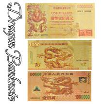 WR 3pcs Chinese Dragon Gold Banknote  ¥1000 ¥1000000 Hong Kong One Milli... - $6.99