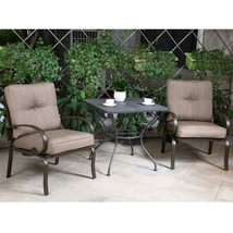 "Outdoor 3 PC Bistro Patio Furniture Set Wrought Iron 30"" Steel Chairs wi... - $204.99"