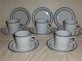Dansk Designs Denmark Blue Mist Coffee Mugs Cups & Saucers Set - $79.00