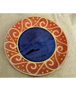 Breakfast Plate Earthworks Barbados Pottery Blue Waves on Melon Studio A... - $18.99