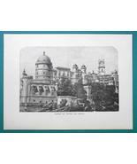 PORTUGAL Castle of Pintra Cintra - 1877 Wood Engraving Illustration - $8.09