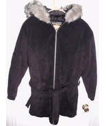 WILSONS ADVENTURE BOUND Suede Leather Coat MEDIUM Jacket w/Hood Black Women - $75.23