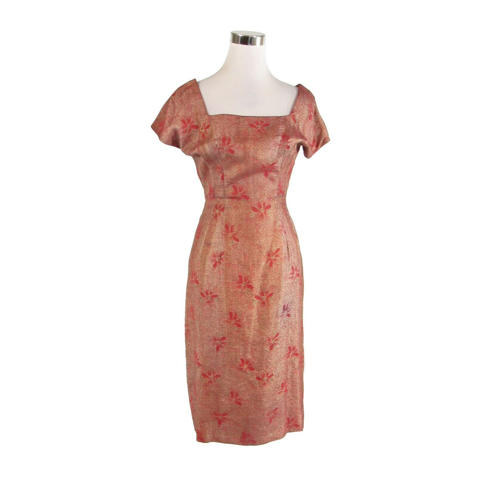 Primary image for Maroon red gold floral brocade vintage cap sleeve A-line dress XS