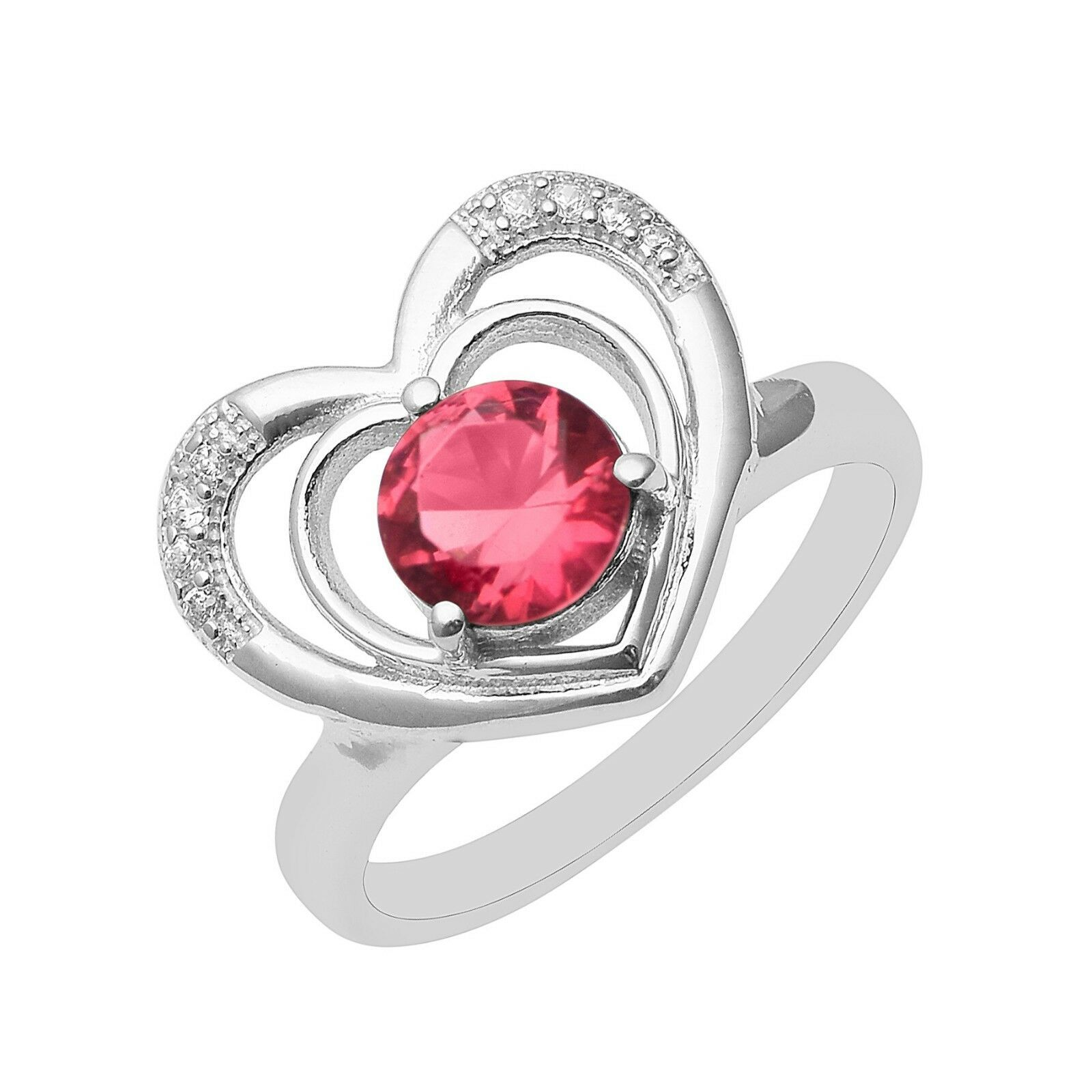 925 Sterling Silver Red Cubic Zirconia & White Topaz Gemstone Heart CZ Gift Ring
