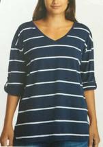 Nautica Ladies Small V Neck Top Roll Tab Tee White Navy Stripe NWT S New - $12.86