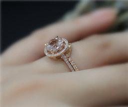 AAA Morganite Engagement Wedding Bridal Ring Set 14K Rose Gold Over Silver - $112.79