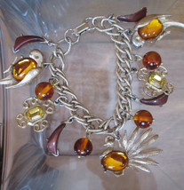 JELLY BELLY Charm Bracelet, Exotic Tropical Birds Bakelite Beads 13 Charms - $193.05