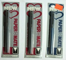 3 Vintage PaperMate Roller Pens Accu Point Double Heart Fine/Extra Rolle... - $19.34