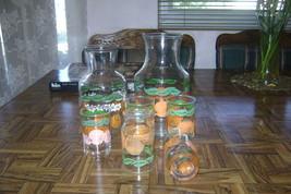 Vintage Mid Century Anchor Hocking ORANGE JUICE Decnter Carafe Glass Lot of 7 - $54.69