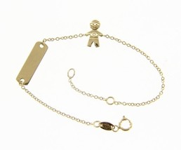 18K YELLOW GOLD BRACELET FOR KIDS WITH CHILD BOY CUBIC ZIRCONIA MADE IN ITALY image 1