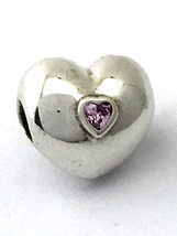 Authentic Pandora Steady Heart, Pink CZ Clip Lock Bead 791981PCZ New - $42.74