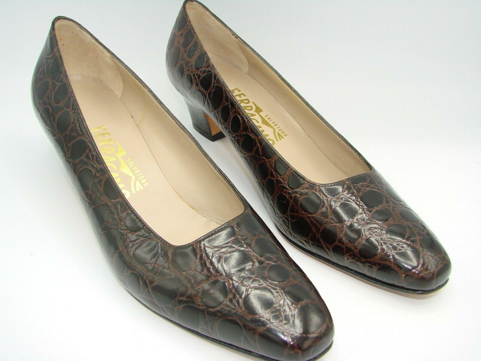 SALVATORE FERRAGAMO Women Shoes Polished Genuine Leather  8 1/2 AA 17666-149 image 4