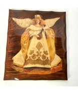Vintage Wood Angel Plaque Lacquered Glossy Wooden Wall Art - $14.84