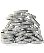 100 FAITH OVER FEAR Wristbands - Debossed Color Filled Silicone Bracelet... - $48.39