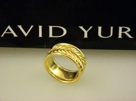David Yurman 18k Yellow Gold Chevron Band Ring 10mm Wide - Size 9.75 - $1,617.98