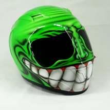 New Custom Airbrush Helmet Smile Face Green (Dot & Ece Certified) - $250.00