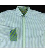 Robert Graham White Purple Green Striped Shirt Flip Cuff Sz 2XL - $34.99
