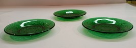 Vintage Set of 3 Anchor Hocking Sandwich Forest Green Liners/Underplates - $16.99