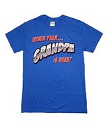 "Gildan Men's ""Never Fear Grandpa Is Here"" Blue Graphic T-Shirt NEW - $7.97"